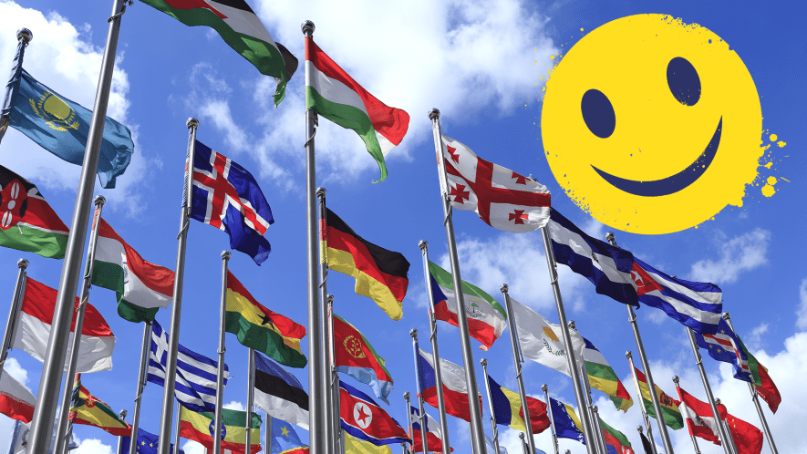 Glags of the world and smiley emoji