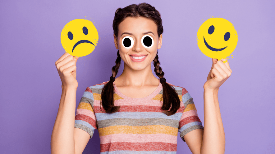 Woman on purple background with happy and sad emojis