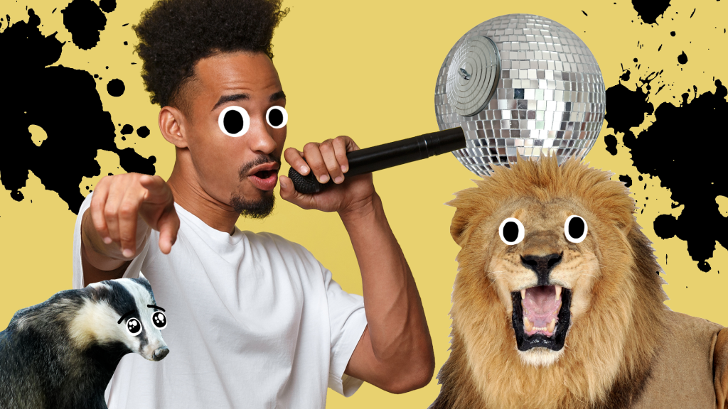 A man making sounds like Chewbacca with a badger and a lion