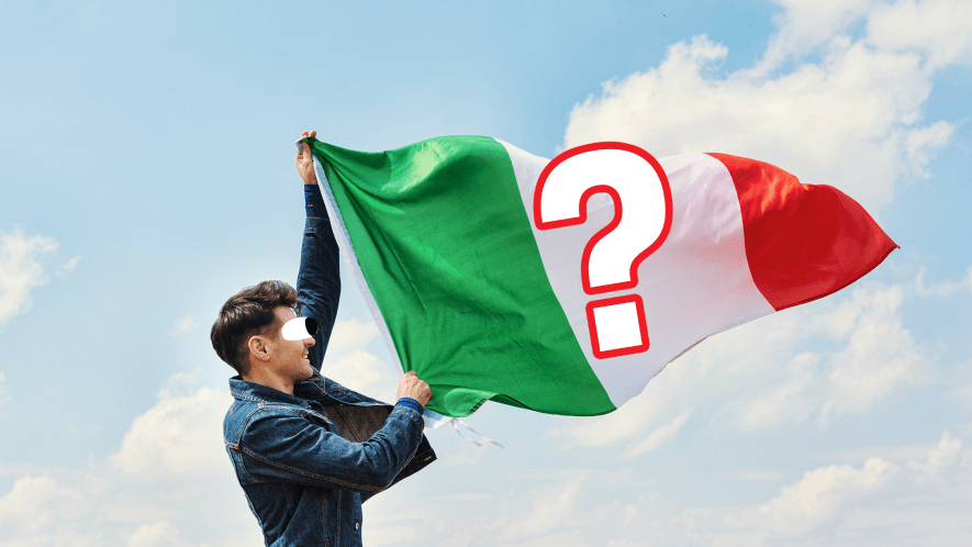 Man with Italy flag and question mark