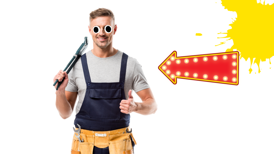 Plumber with yellow splat and arrow on white background