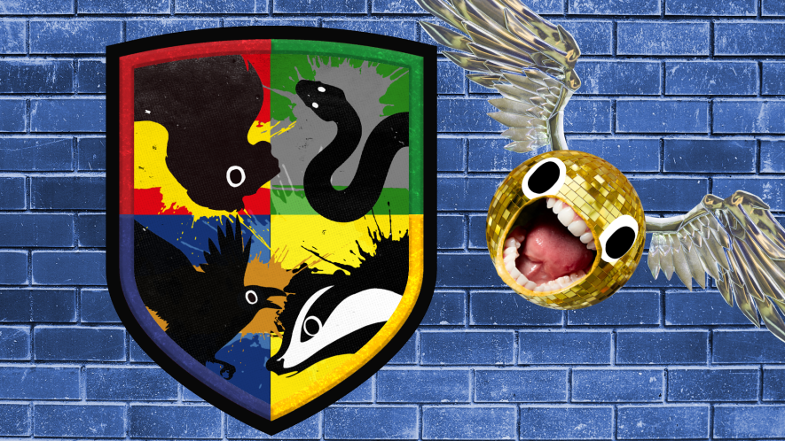 Beano style Hogwarts shield with screaming snitch