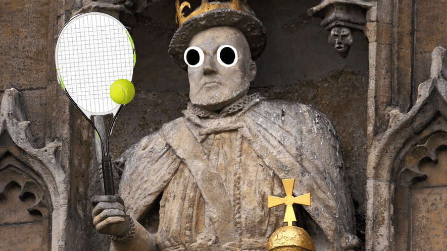 Henry VIII statue with tennis racket