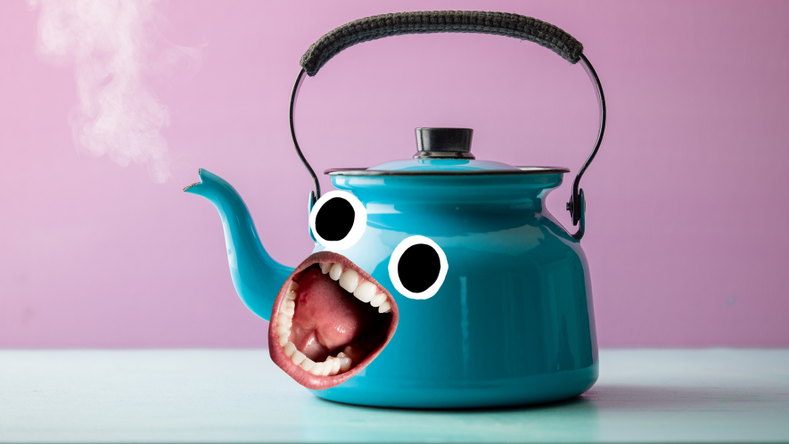 Blue kettle with screaming face on purple background