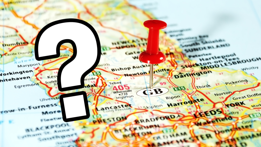 Map of the UK with question mark