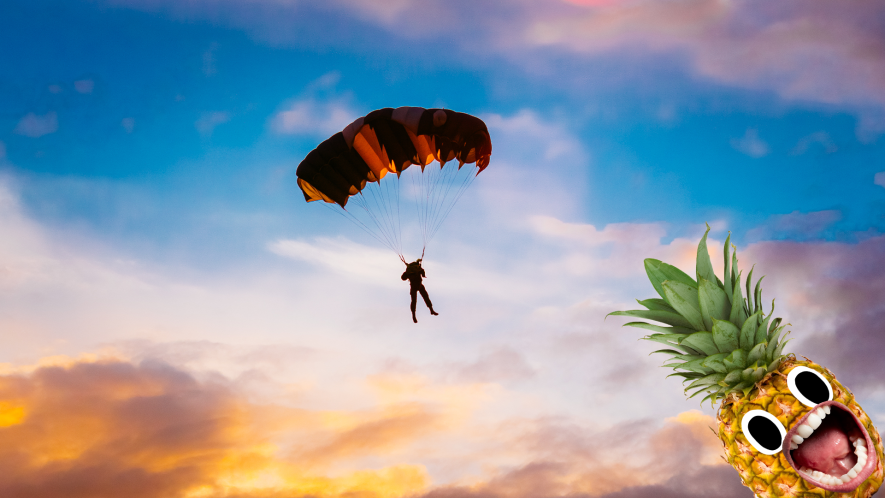 Someone skydiving with screaming pineapple
