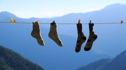 Socks hanging on a washing line