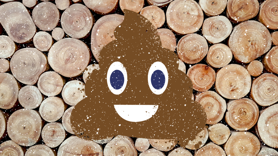 Log background with snow overlay and smiling poop emoji