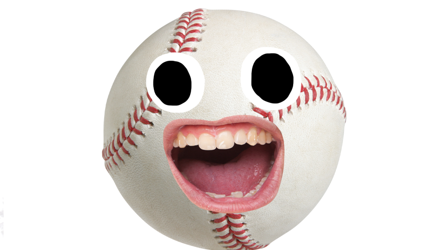 Baseball with goofy face
