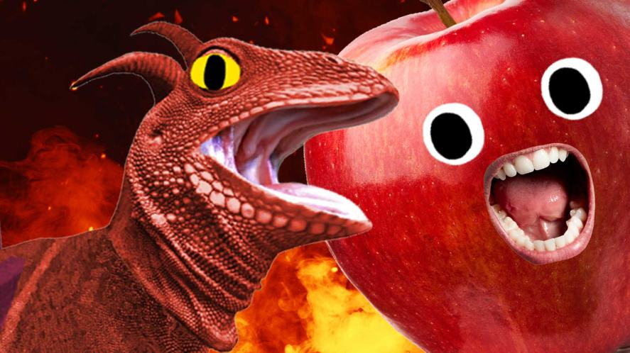 A dragon and a big red apple