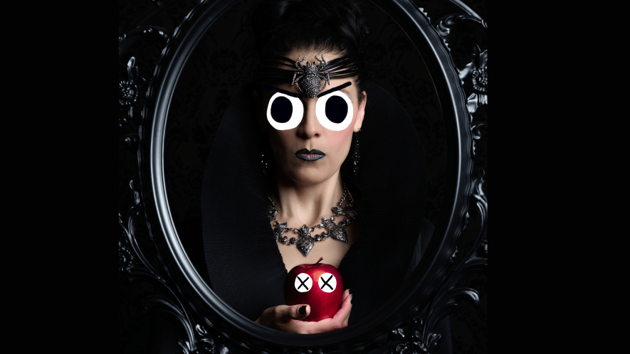 Evil queen with stunned apple