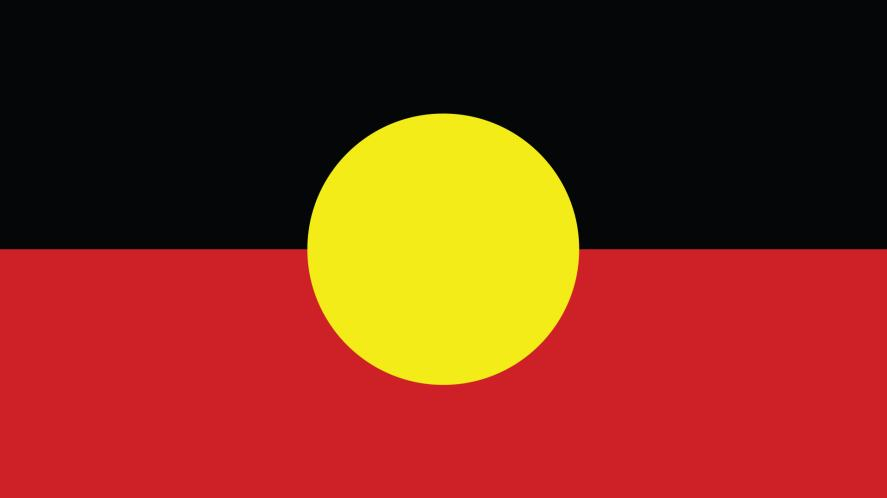 A red, black and yellow flag