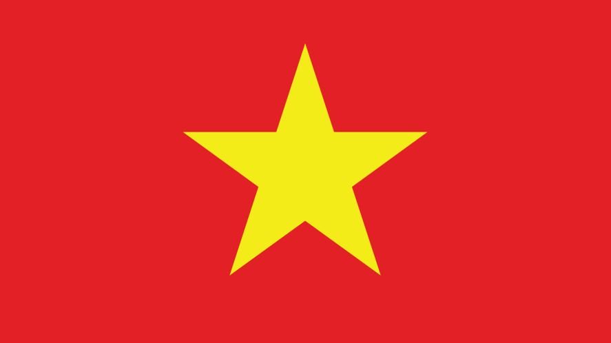 A red flag with a yellow star on it