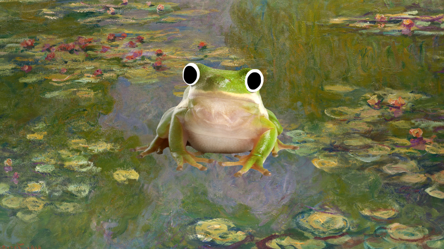 Painting with Beano frog on it