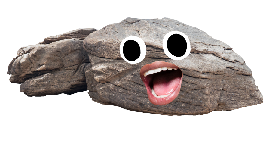 Rock with a goofy face on white background