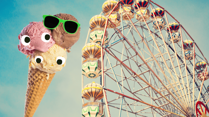 Ferris wheel and ice cream with faces