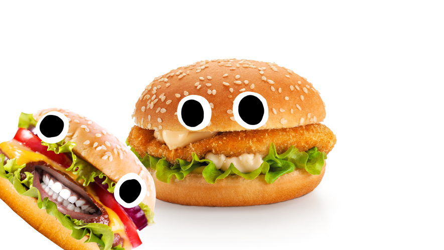 Two burgers with silly faces on white background
