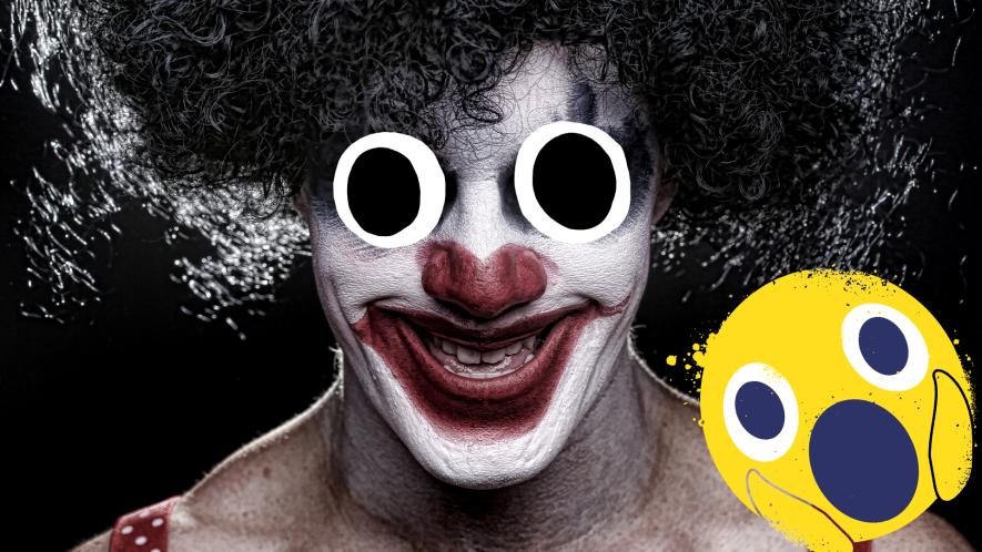 Creepy clown and shocked emoji