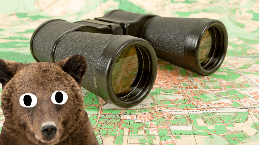 Beano bear, binoculars and map