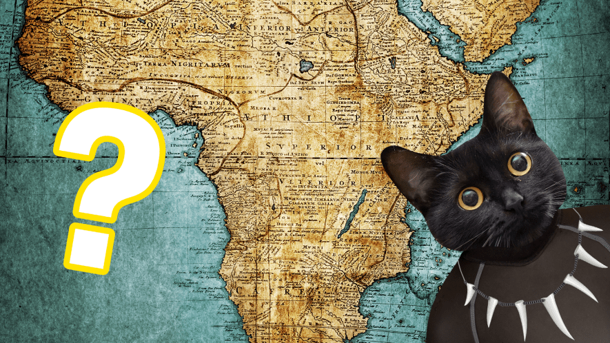 Map of Africa with question mark and Beano Black Panther