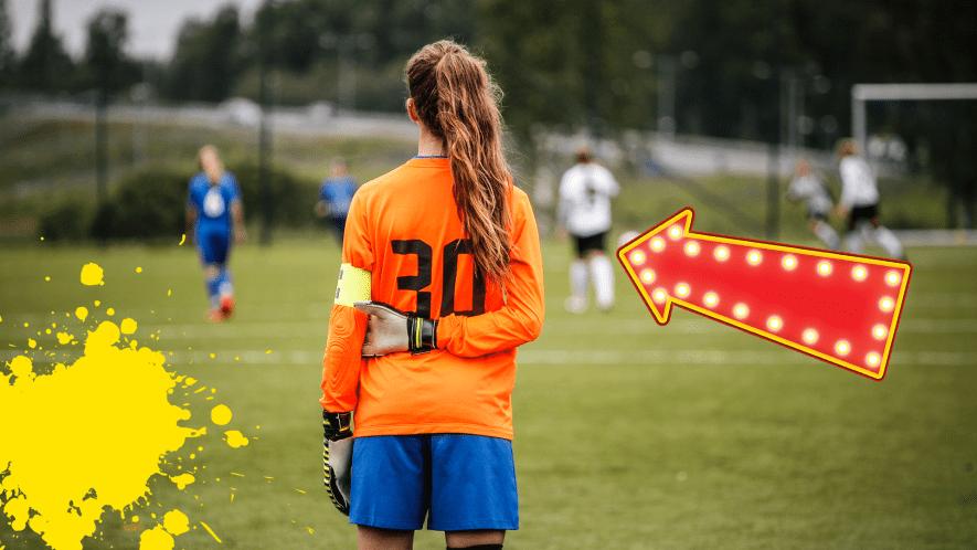 Female goalkeeper, arrow and yellow splats