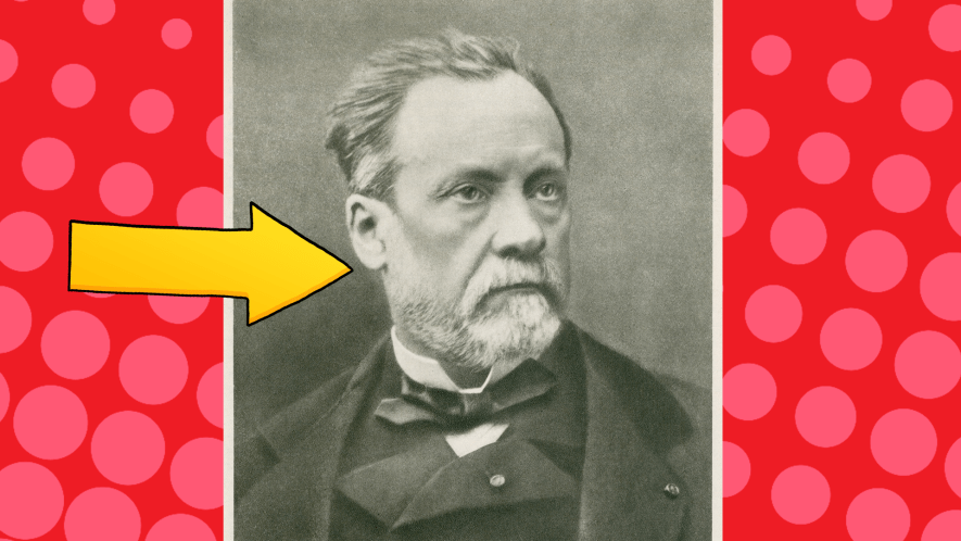 Photo of Louis Pasteur on red spotty background with yellow arrow