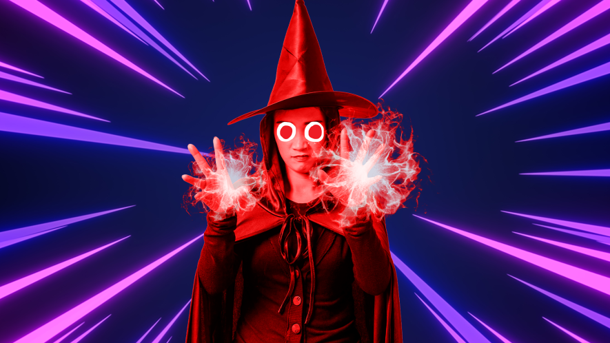 Beano Scarlet Witch on laser background