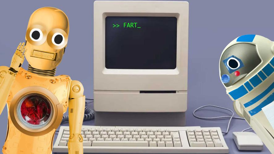 Space film characters surround an old computer