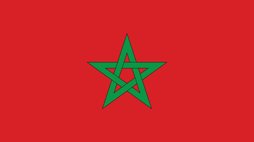 A red flag with a green star shape