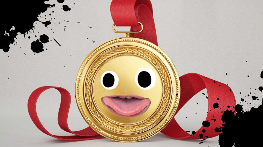 A cheeky gold medal surrounded by splats