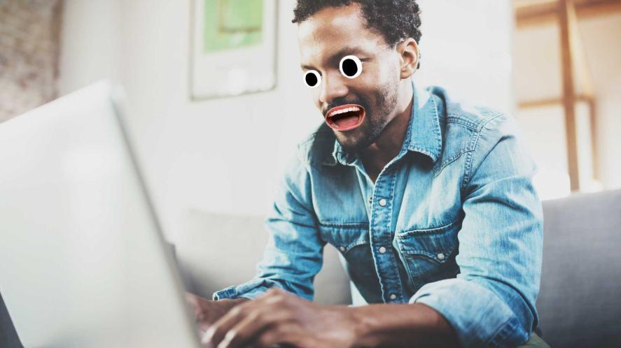 A man on a laptop