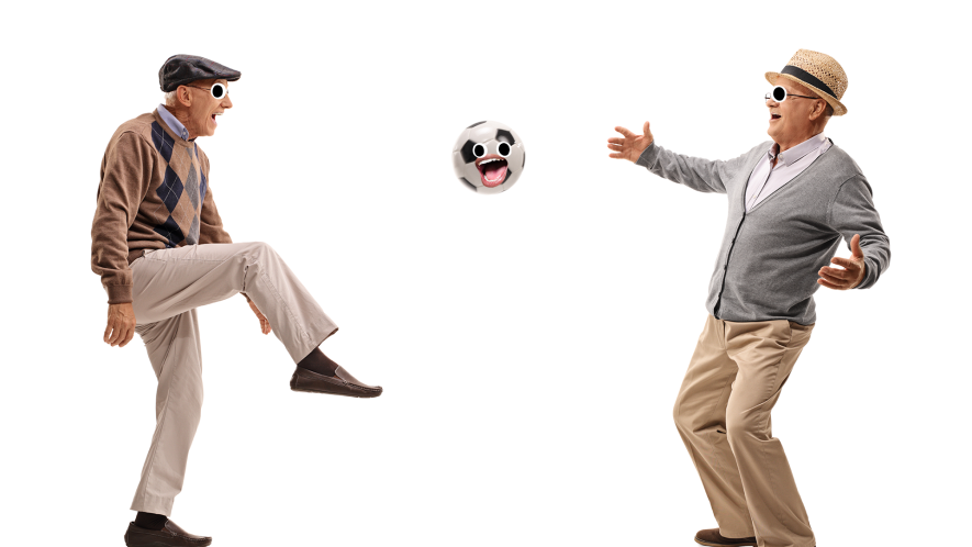 Two old men playing football on a white background