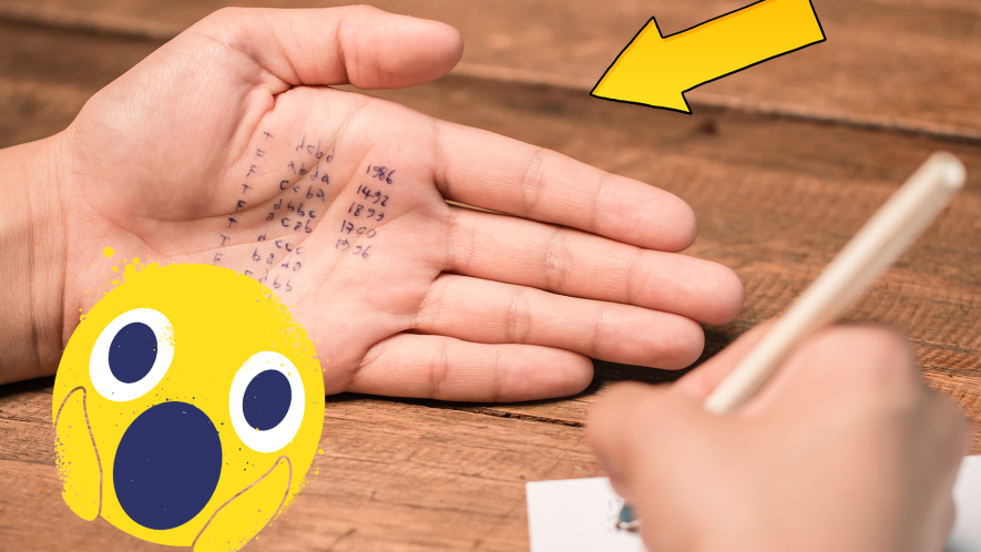 Someone writing with writing on their hand and a shocked emoji