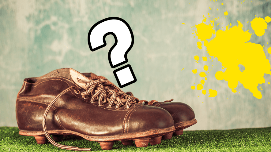 Old football boots with question mark and splat