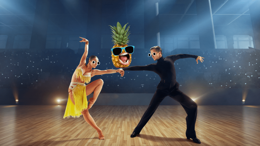 Ball dancing couple with screaming pineapple