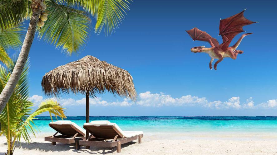 A dragon flying over a sandy beach