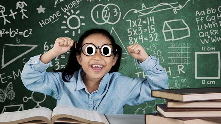 A student enjoying a bit of algebra