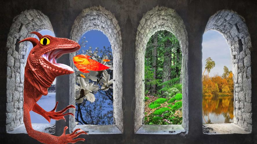 The four seasons, and a massive dragon breathing fire