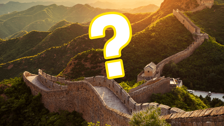 Great Wall of China with question mark