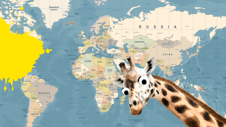 Map of the world with derpy giraffe and yellow splat