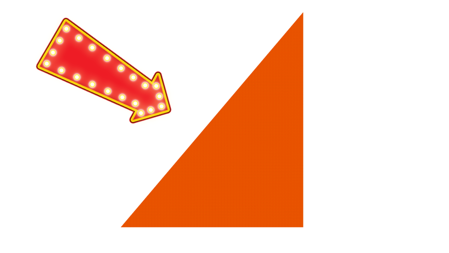 Triangle on white background with arrow