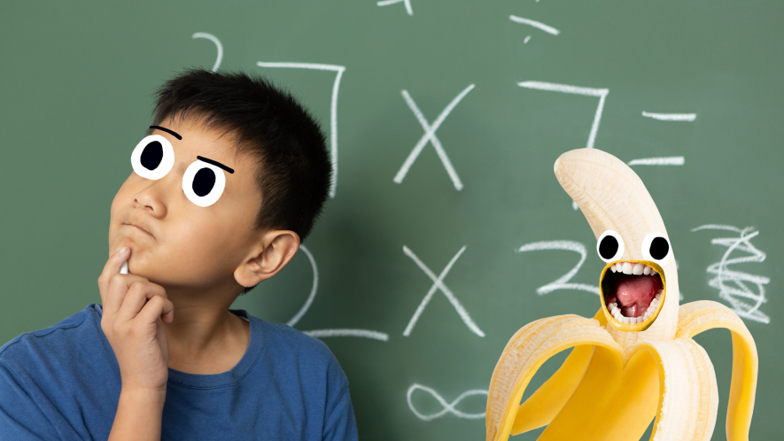 Puzzled looking boy in front of blackboard with screaming Beano banana