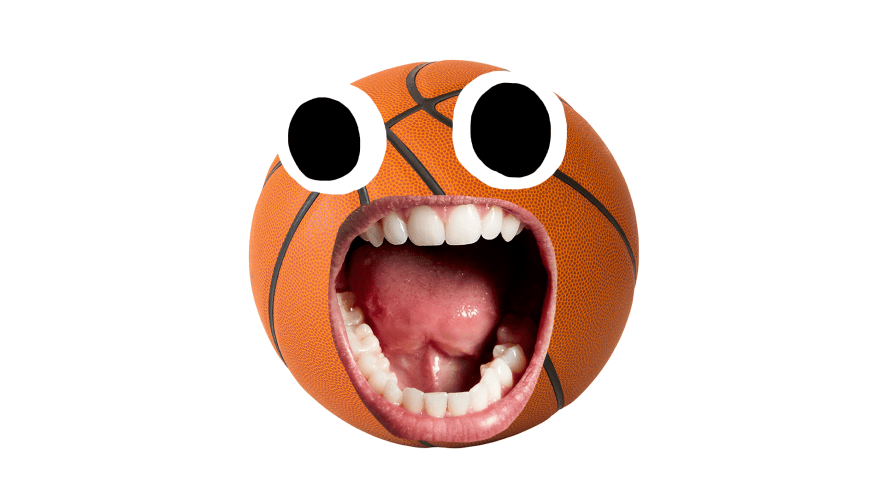 Surprised basketball on white background