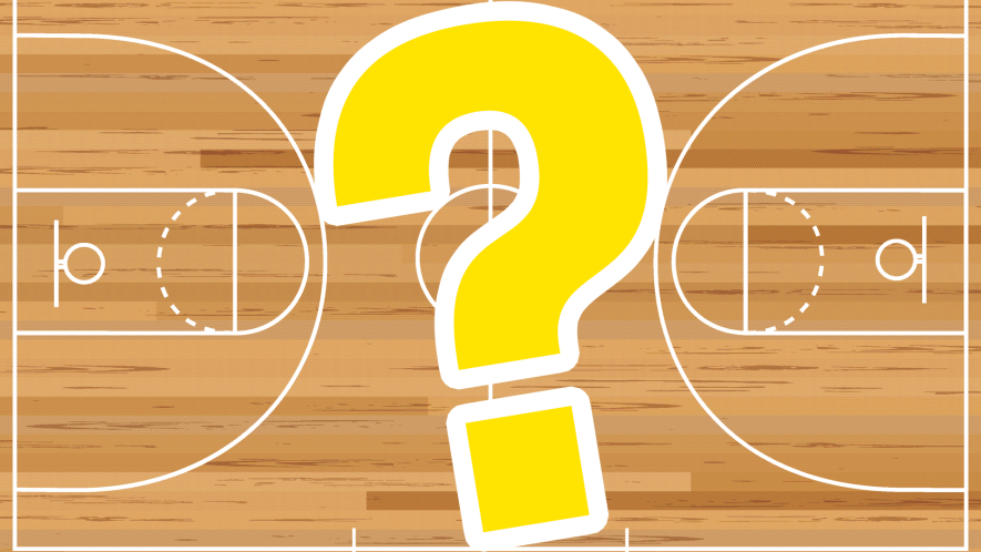 Basketball court background and question mark