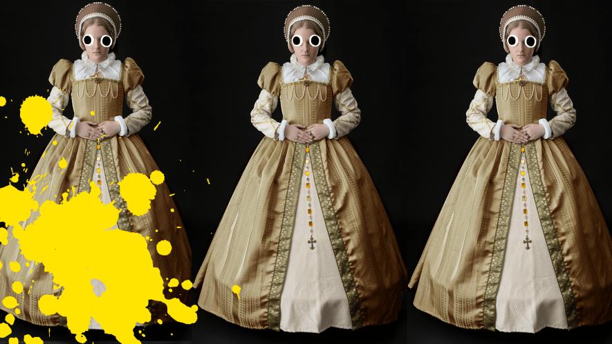 Three Tudor women and yellow splat