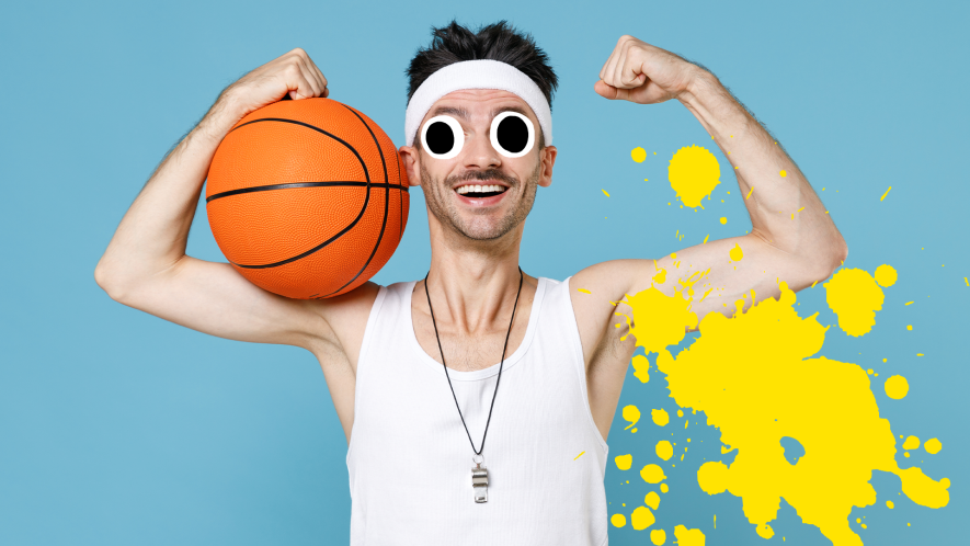 Man with basketball on blue background with splat
