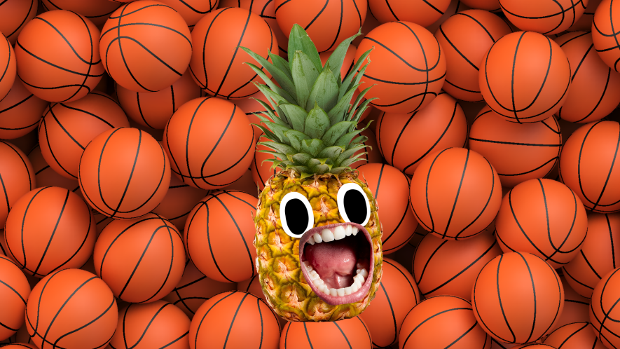 Screaming pineapple on basketball background