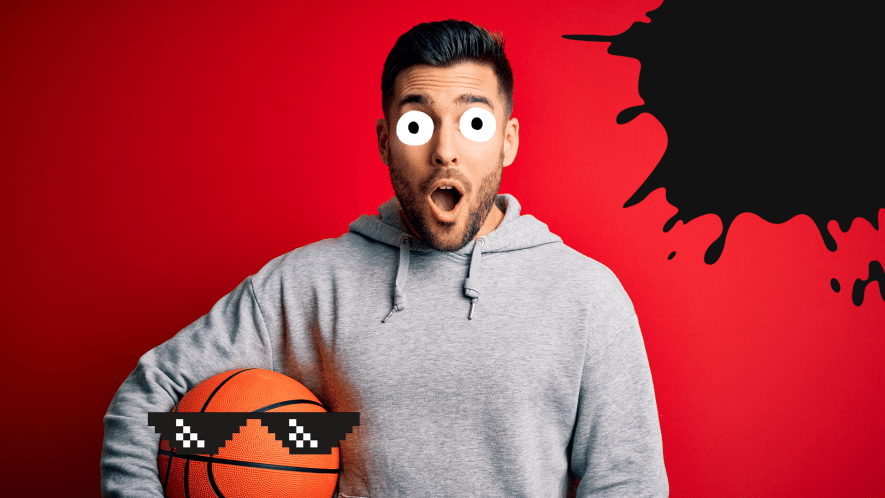 Surprised man with basketball in sunglasses on red background with splat