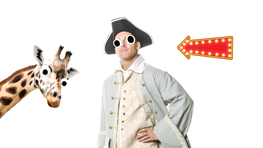 Man in Georgian clothes on white background with goofy giraffe and arrow