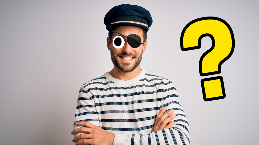 Saillor man with eyepatch on white background with question mark